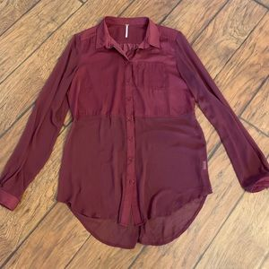 Free People semi sheer button up